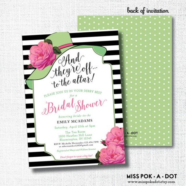 kentucky derby bridal shower invitation theyre off to the altar big hat brunch wedding shower bright pink and green 2231549 weddbook