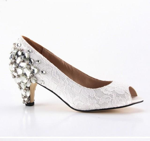 Ivory Lace Peep Toe Shoes