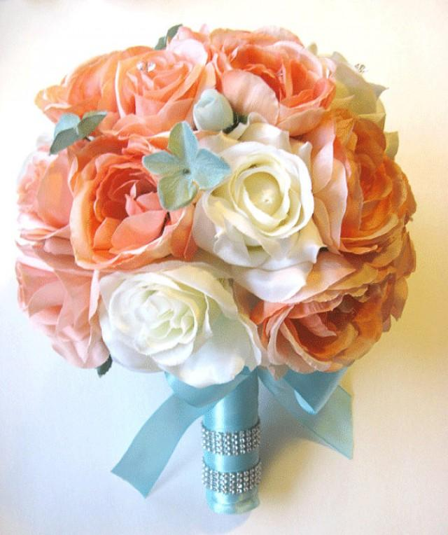 Free shipping 17 pcs wedding silk flower bouquet bridal package free shipping 17 pcs wedding silk flower bouquet bridal package coral peach tiffany blue centerpieces rosesanddreams 2231671 weddbook mightylinksfo