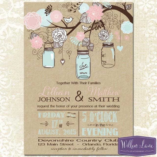 mason jar wedding invitation - kraft pink and blue mason jar, Wedding invitations