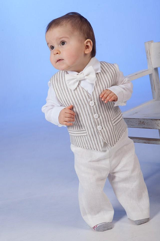 Baby Boy Linen Suit Ring Bearer Outfit Baptism Natural Clothes SET Of 4 First Birthday Rustic Wedding Beach Family Photos Formal Striped 2232160