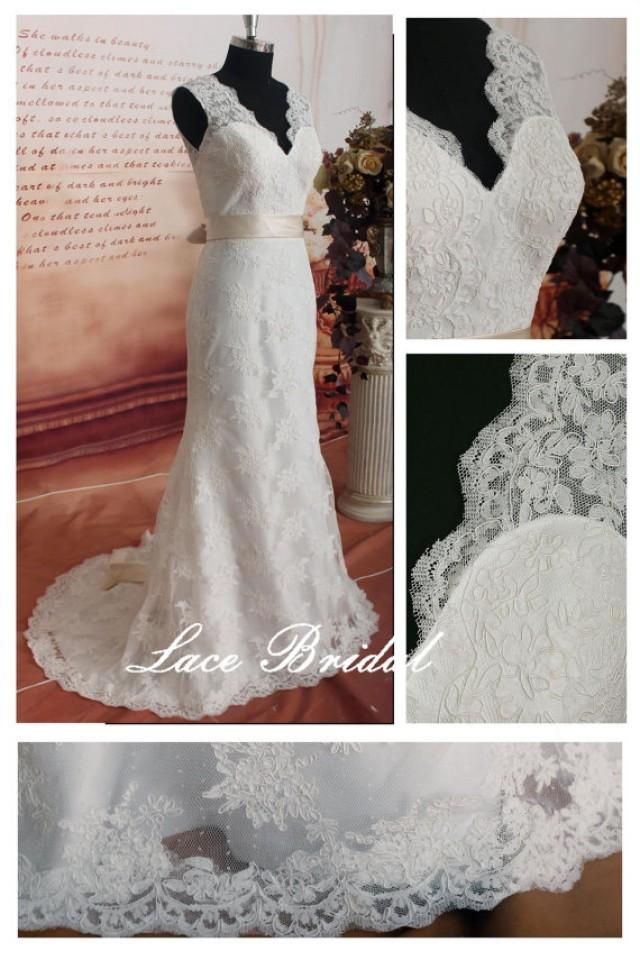 Weddinggown vintage lace wedding dress bridal gown for T back wedding dress