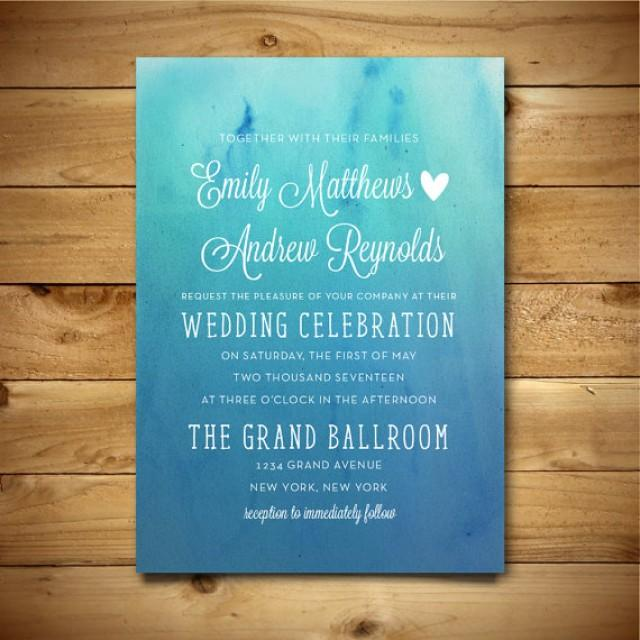 Printable Watercolor Wedding Invitation Template Blue White – Word Document Invitation Template