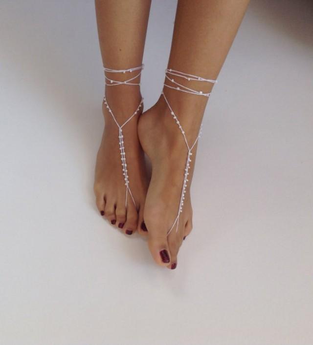 Barefoot Sandals Bead ,whites, Wedding , Bikini , Women ...