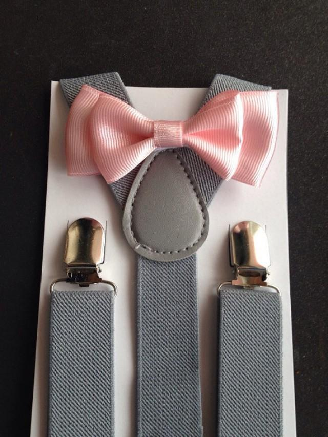 Kids Boys Mens Gray Suspenders /& PALE Blush Pink Bow tie Baby ADULT SET