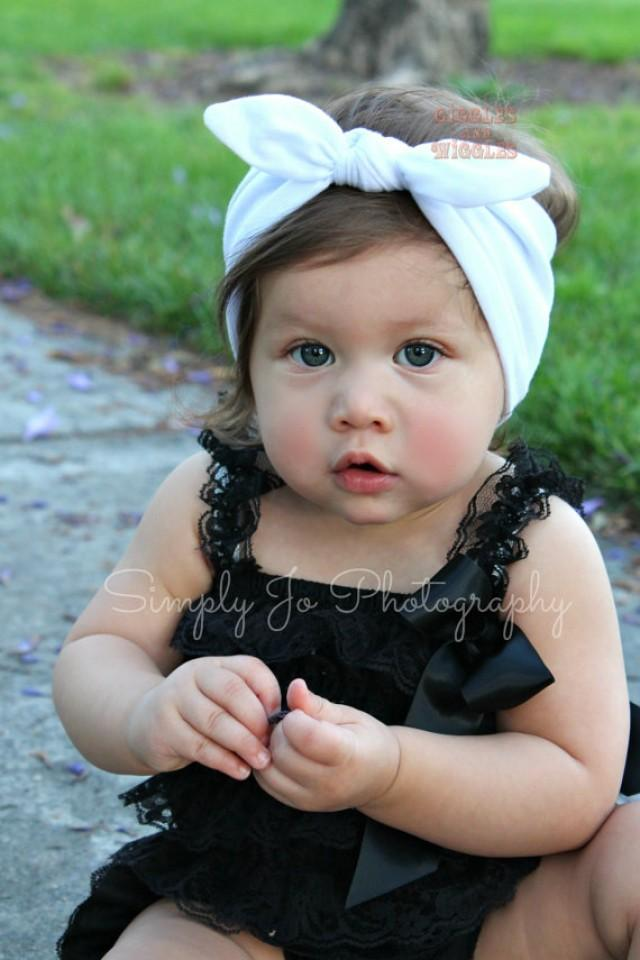 NEW- White Knot Tie Cotton Headband For Baby Girl And Toddler Girl ... 8136da72396