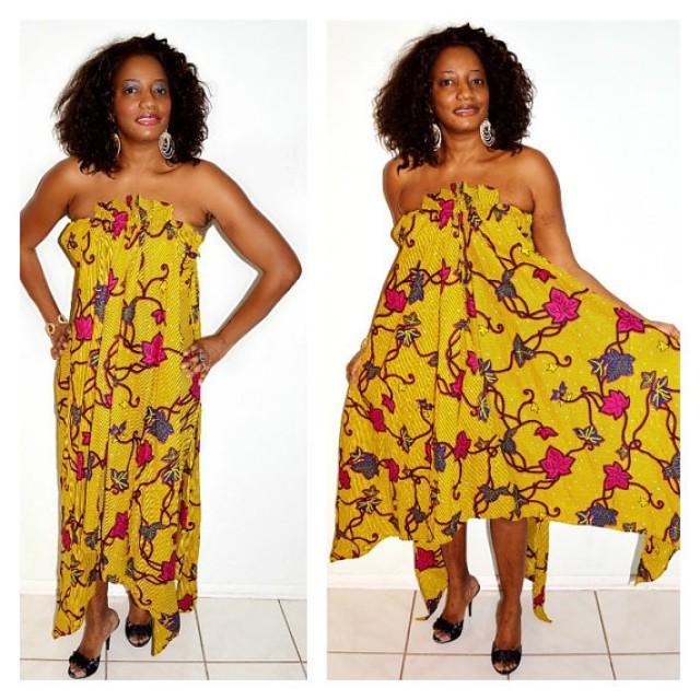 African Dress Yellow Wedding Ankara Strapless Print Fishtail Formal 2232466