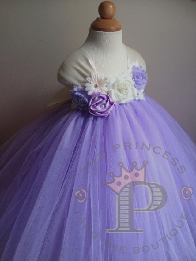 3696d6243d1d Lavender flower girl dress with ivory, lavender and lilac flowers. tutu  dress. www.theprincessandthebou.etsy.com
