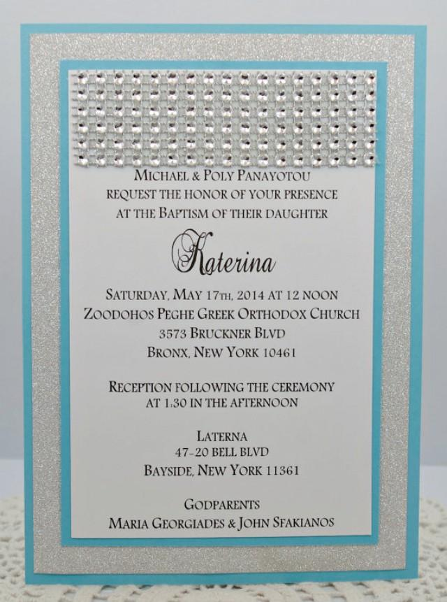 Stunning Turquoise Blue Silver Glitter Wedding Invitation Full Of Rhinestone Bling Sparkle And Dazzle 2233017