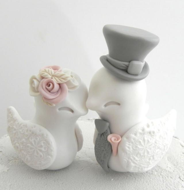 Lovebirds Wedding Cake Topper, White, Dusty Pink And Grey