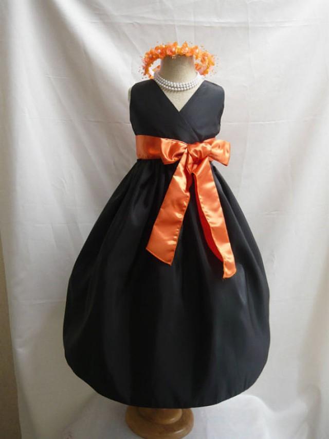 Flower Girl Dress Black V Neck Dress With Orange Wedding Easter