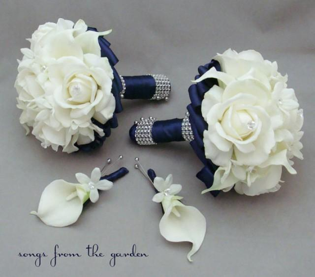 Navy Wedding Flower Package Bridesmaid Bouquets Groomsman Boutonnieres Silk Stephanotis Real Touch Roses Calla Lilies 2233701 Weddbook