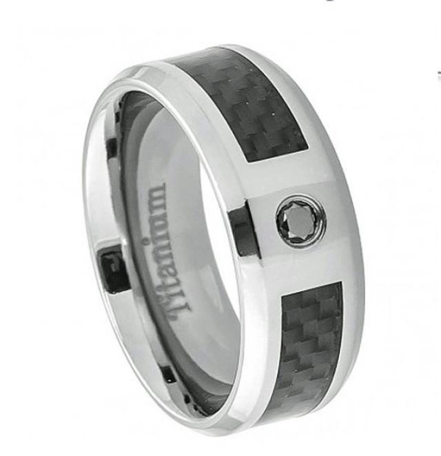 8mm Titanium Ring Black Carbon Fiber Inlay 0 05 Carat Round Black