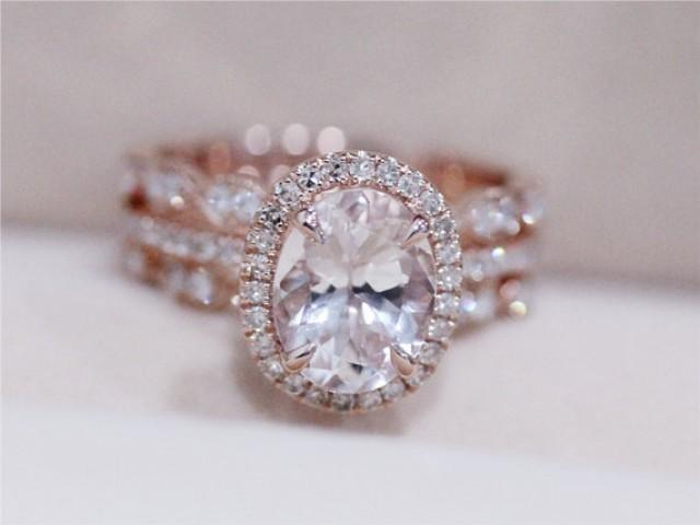3 Rings Morganite Wedding Set VS 6X8mm Pink Morganite Ring W