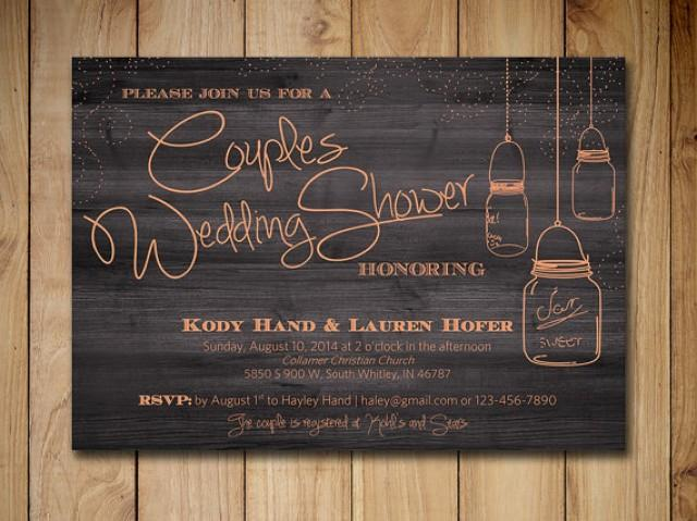 Couples Shower Invitation Mason Jar Wedding Shower Invitation - Free mason jar wedding invitation templates