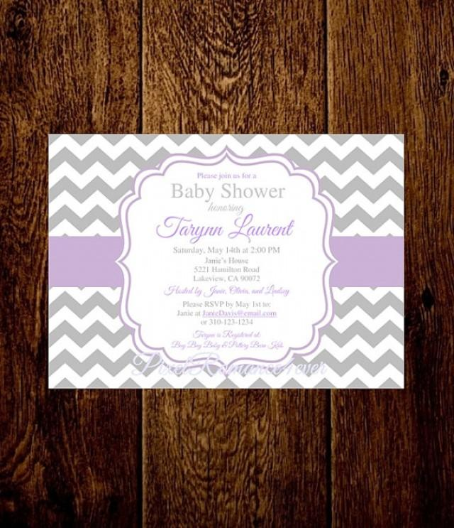 Baby Shower Invitation Lavender Bridal Shower Chevron