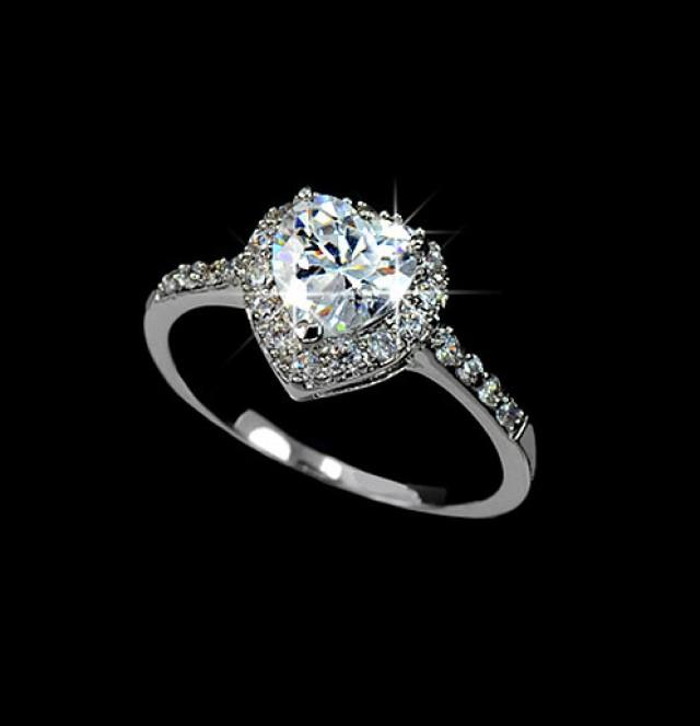 Heart Cut Cubic Zirconia Engagement Ring Micro Pave Wedding Ring
