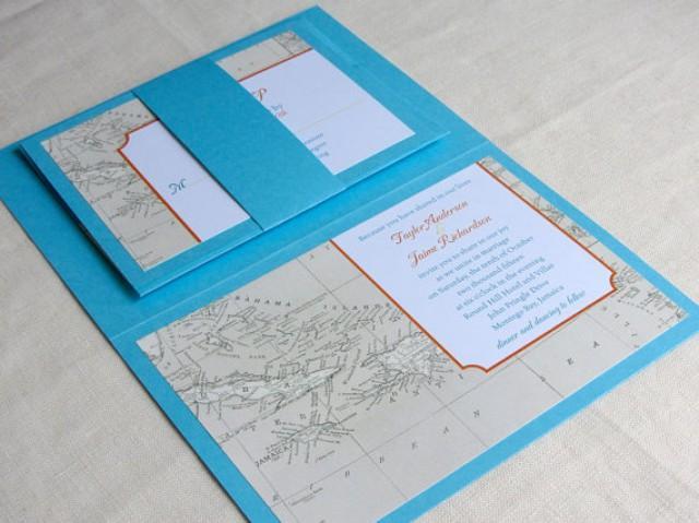 Jamaica Wedding Invitations: Caribbean Map Wedding Invitation Booklet