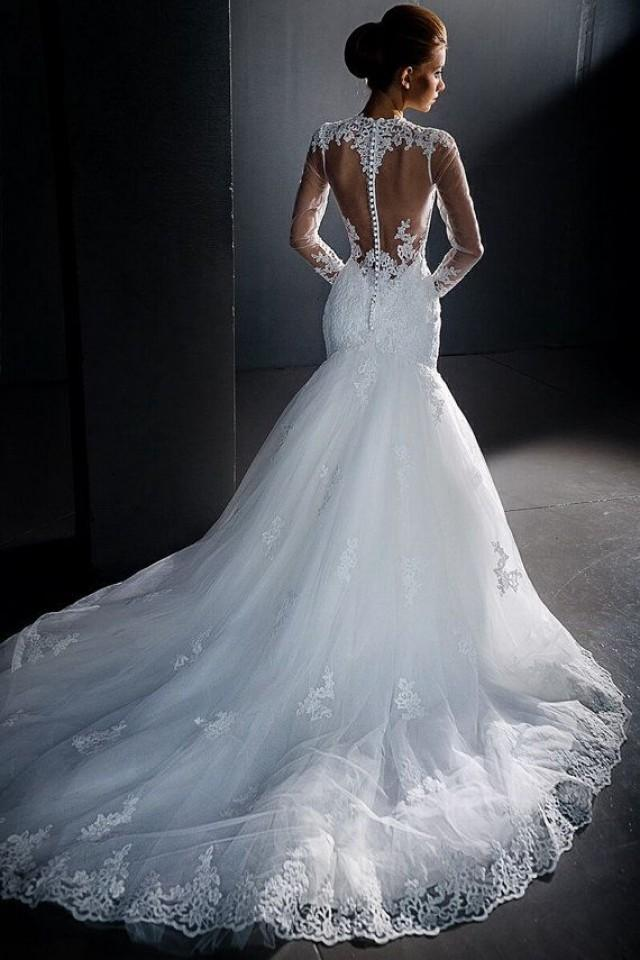 Stunning lace wedding dress long sleeves wedding dress for T back wedding dress