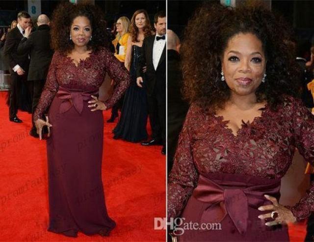 2014 Oprah Winfrey Burgundy Long Sleeves Sexy Mother Of