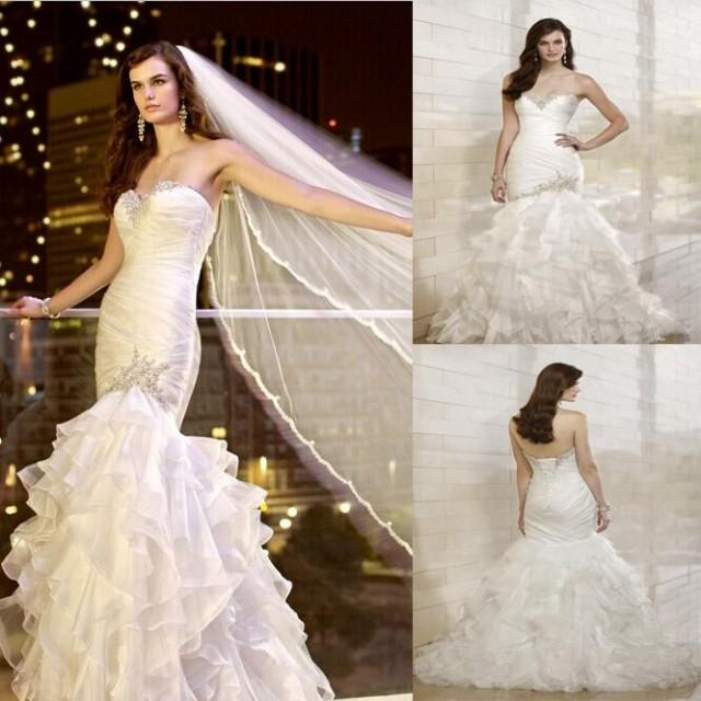 2014 new crystal beaded sweetheart strapless cascading for Cascading ruffles wedding dress