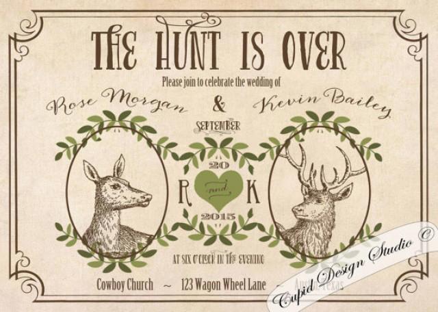Deer Wedding Invitations: Deer Wedding Invitations. Rustic Outdoor Wedding