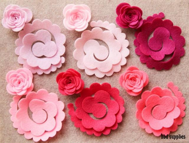 Perfectly Pink 3d Rolled Roses Large 12 Die Cut Felt