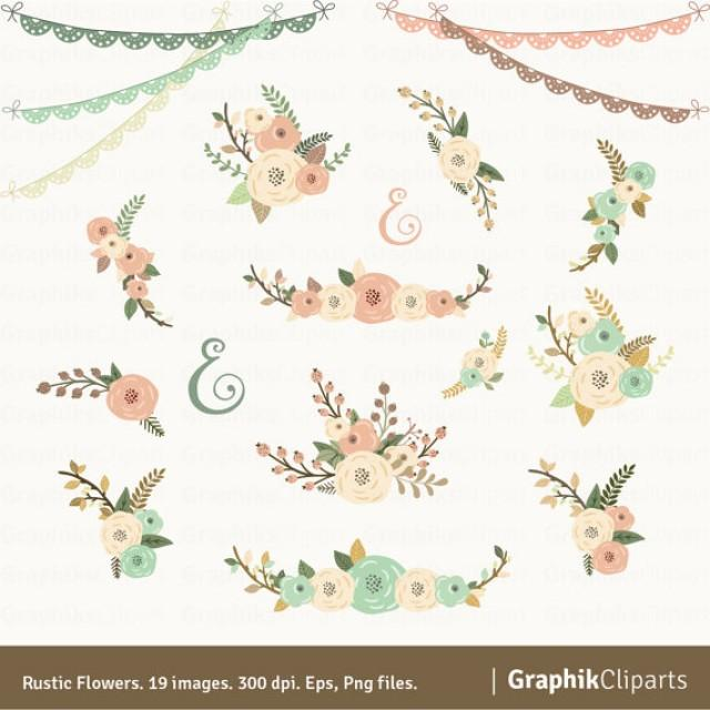 Rustic Flowers Clipart Floral Bouquet Wedding Invitation 19 Images 300 Dpi Eps Png Files Instant Download 2235298