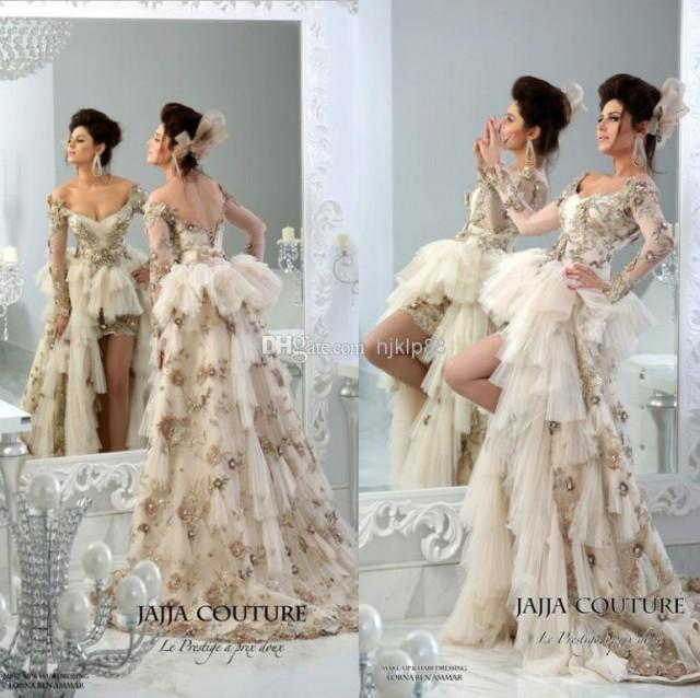 2014 JaJJa Couture Vintage Backless Wedding Dresses Sweetheart Sheer Long Sleeve Luxury Crystal Hi Lo Dress Applique Bridal Gowns Online With