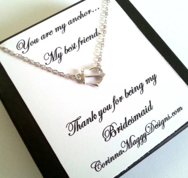 Bridesmaid Gifts Beach Wedding: Bridesmaid Gift, Sideways Anchor Necklace, Wedding Gift