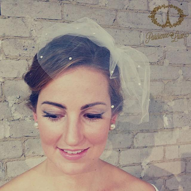 Birdcage Veil With Pearls Blusher Tulle Bridal White Ivory Off Sparkle MARIE Small 2235979