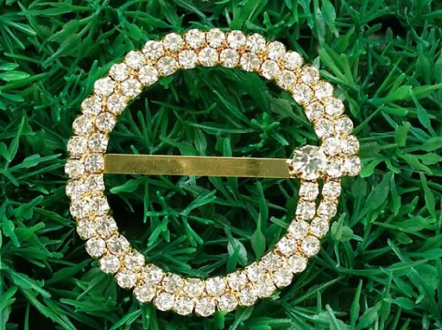 10 Pcs Wholesale Rhinestone Bling Wedding Invitation Gold Buckles