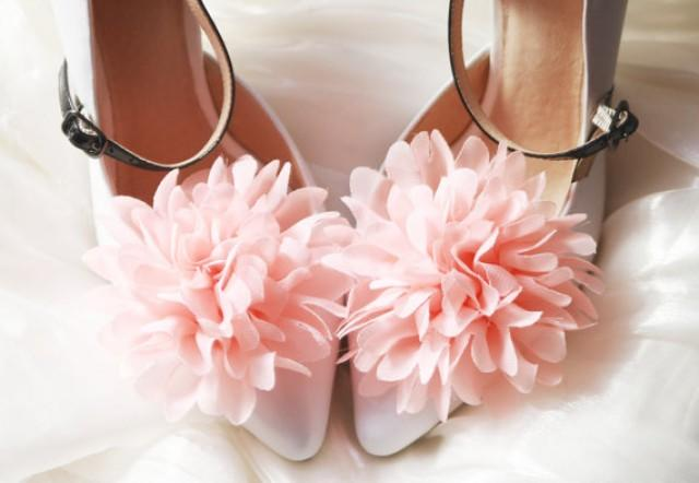 Coral wedding coral pink chiffon flowers shoe clips 2236073 coral wedding coral pink chiffon flowers shoe clips 2236073 weddbook mightylinksfo