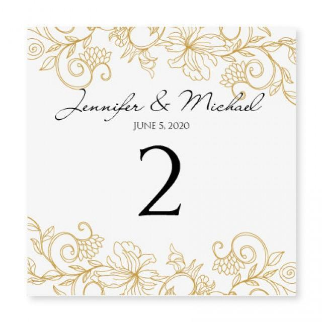 instant download wedding table number card template vintage bouquet gold foldover. Black Bedroom Furniture Sets. Home Design Ideas