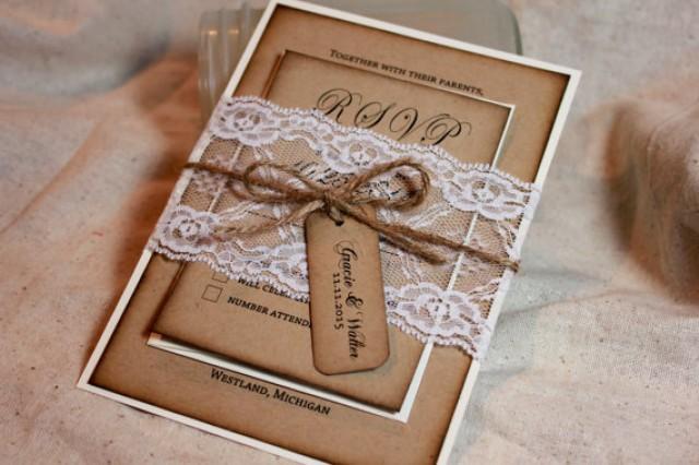Lace Themed Wedding Invitations: Rustic Wedding Invitation Set, Lace And Kraft Rustic