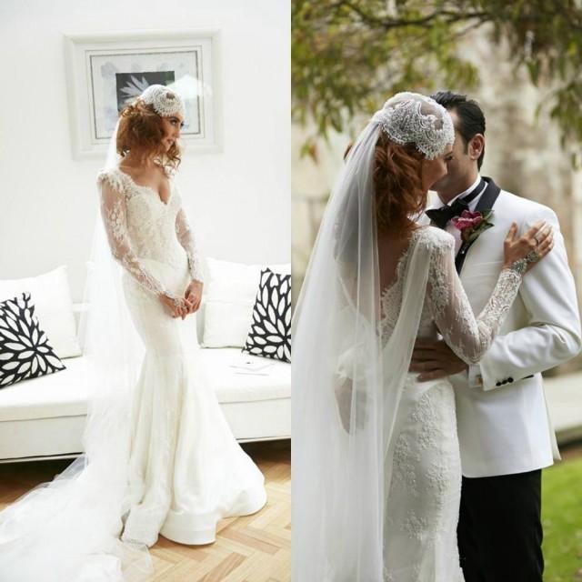 2015 Spring Lace Wedding Dresses White Backless V Neck Long Sleeve