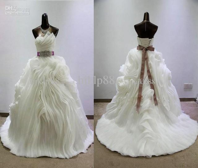 702930055c66 Actual Picture Sweetheart Ravishing Luxury Pleated Opal Organza Juliette  Bridal Ball Gown Wedding Dresses Lace Up Chapel Train Online With  $164.34/Piece On ...