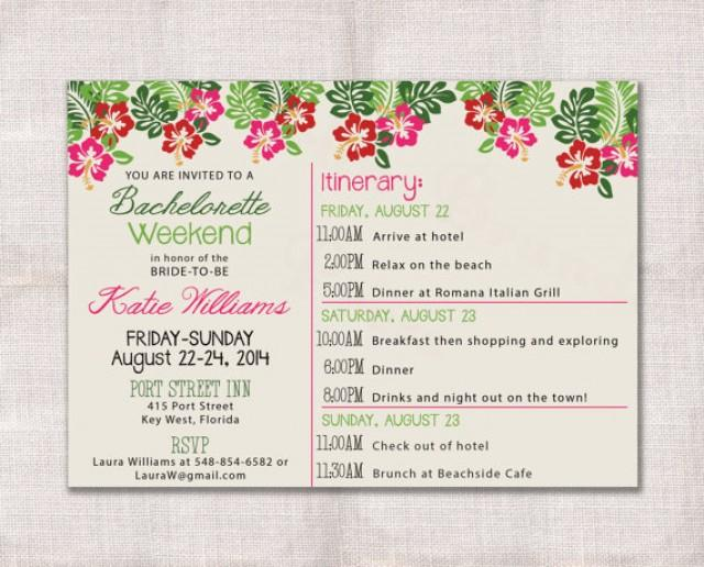 bachelorette party weekend invitation and itinerary custom printable