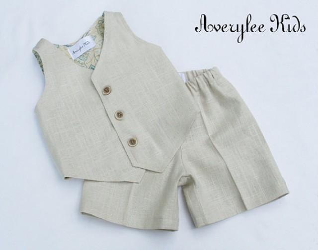 Boys Linen Suit, Boys Natural Linen Suit, Vest And Shorts, Ring ...