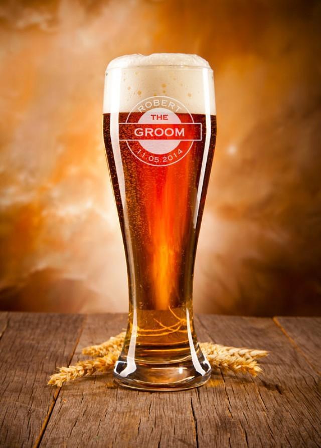 Groomsmen Gift Personalized Beer Glass Custom Engraved Pilsner