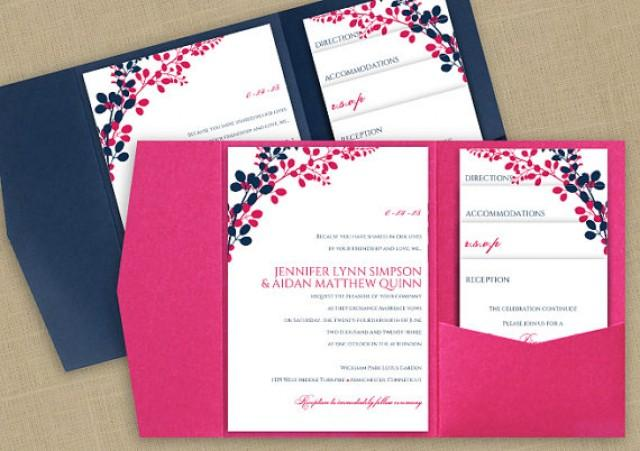 DiY Pocket Wedding Invitation Template Set   Instant DOWNLOAD   EDITABLE  TEXT   Exquisite Vines (Navy U0026 Hot Pink)   Microsoft® Word Format #2236828    ...