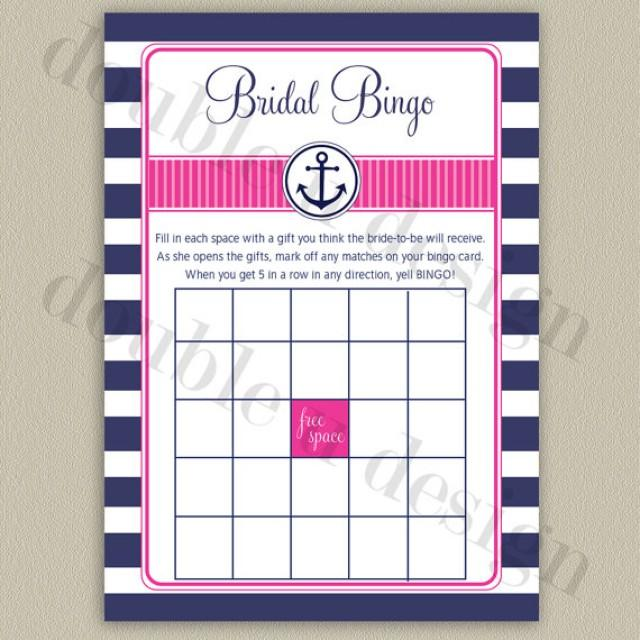 instant download nautical bridal bingo navy with hot pink accents bridal or wedding shower game printable diy 2236831 weddbook