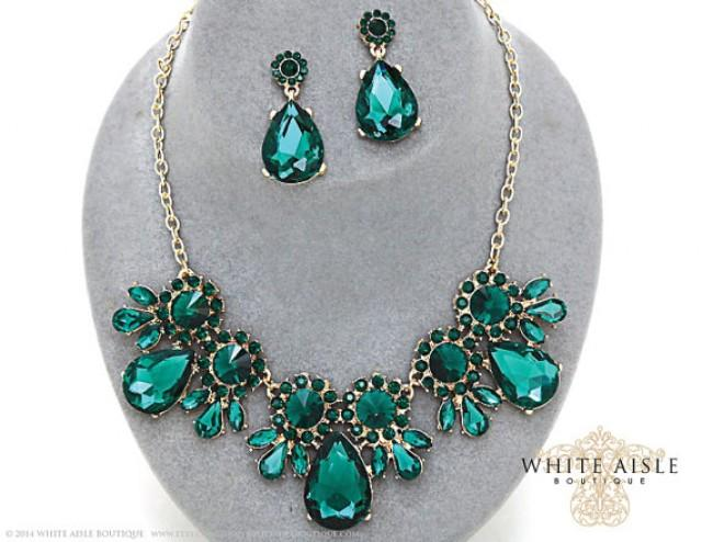 Emerald Green Bridal Statement Necklace Set Crystal