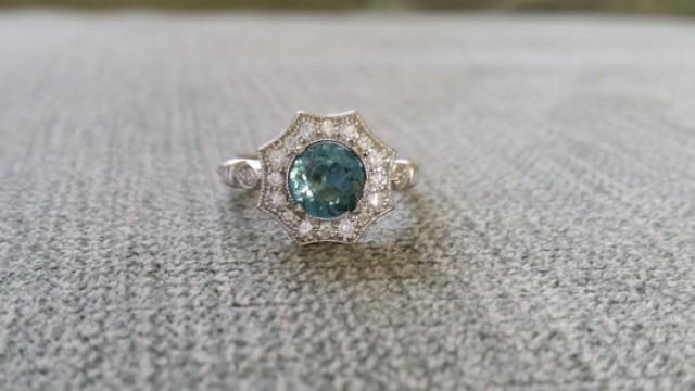 Halo Teal Spinel Diamond Ring Gemstone Engagement Ring