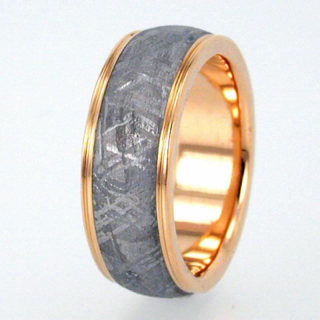 Gibeon Meteorite Ring With Widmanstatten Pattern Gold Wedding Band Magnificent Widmanstatten Pattern