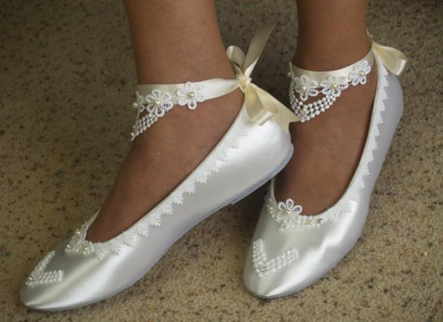 Bridal Victorian Flats White Shoes Fine US Lace Pearls And Crystals Embellished