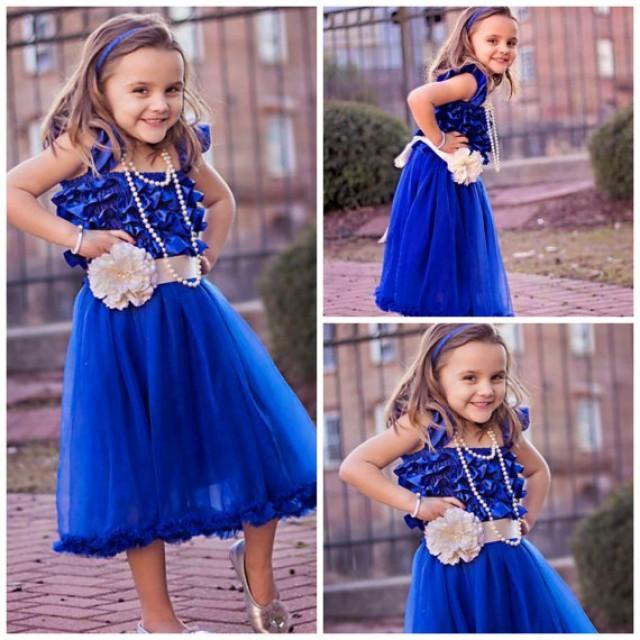 24c9aba9a Royal Blue Girls Chiffon And Satin Petti Dress - Flower Girl Dresses -  PETTI DRESSES - Gorgeous Petti Dress - Lots Of Colors To Choose