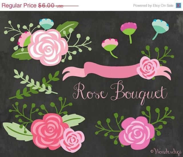 Clipart Sale 80% Off Flowers Clipart - Floral Rose Bouquet Clipart ...