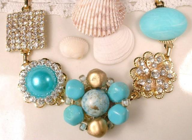 Ooak Turquoise Blue Rhinestone Gold Bridal Bracelet