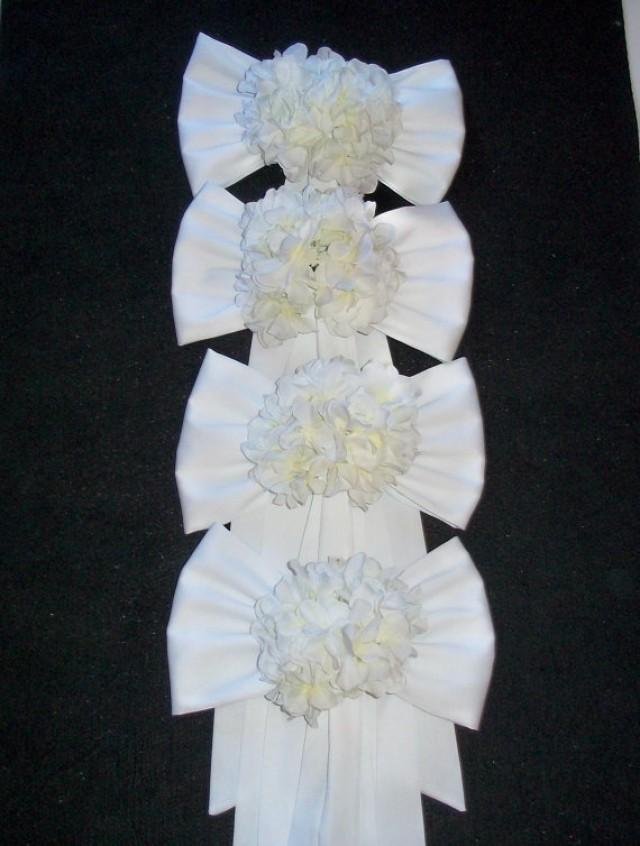 Pew Bows With Hydrangeas Set Of 4 Chair Bows With Hydrangeas Pew